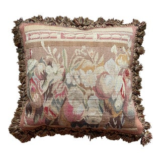 Vintage French Floral Needlepoint Pillow For Sale