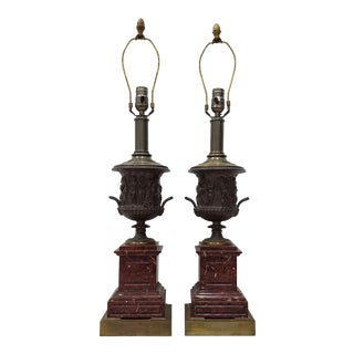 Pair of Vintage Classical Roman Bronze Urns & Marble Table Lamps For Sale
