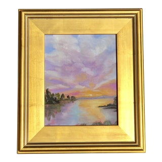"""""""Sunset on Mountain Lake"""" Small Oil Painting in Gold Frame"""