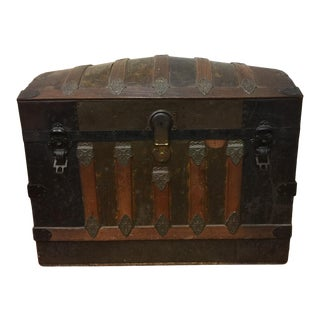 Late 19th C Dome Top Victorian Steamer Trunk For Sale