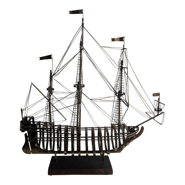 Vintage Mid Century Brass Ship With Wood Base by Curtis Jere For Sale