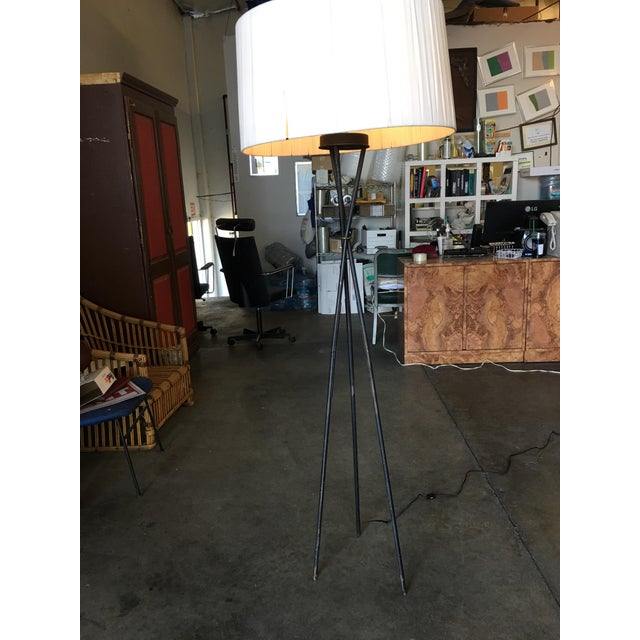 1950s Mid-Century Black Thin Iron Rod Tripod Floor Lamp For Sale - Image 5 of 7