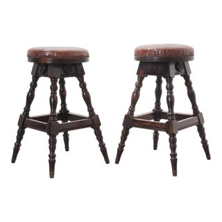 Late 19th Century English Oak Leather Top Pub Stools - a Pair For Sale