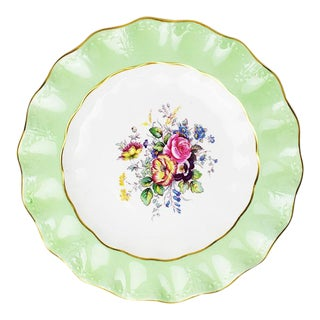 Mint Green Floral Bone China Plate by Royal Crown Derby England 1950s For Sale