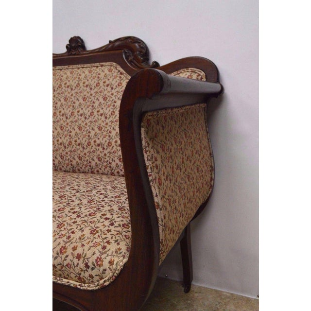 Antique Mahogany 3pc Parlor Set : Settee , Arm Chair , Chair For Sale - Image 4 of 11