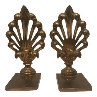 Brass Fleur De Lis Bookends - A Pair For Sale
