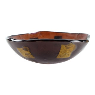 Italian Murano Glass Bowl W/ Gold Leaf Accents For Sale