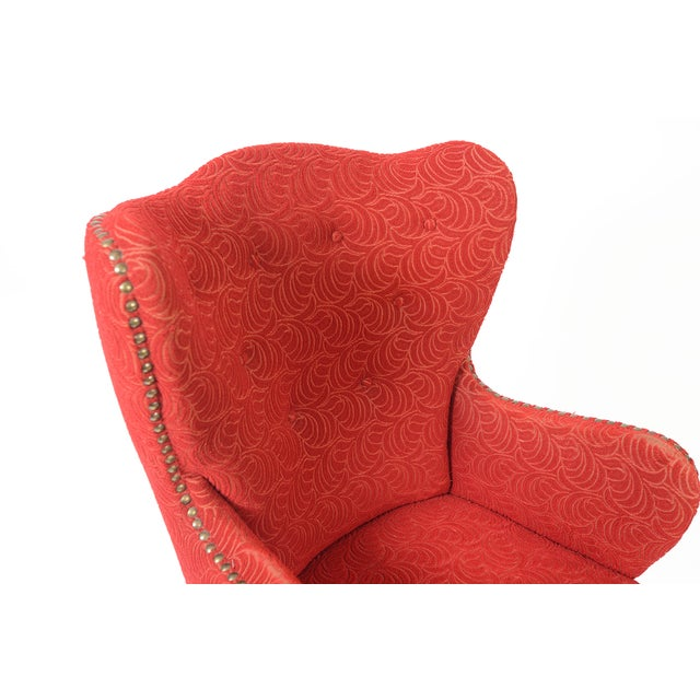 Danish Modern Crimson Frieze Club Chair - Image 10 of 11