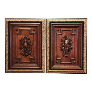 19th Century French Carved Oak Wall Door Panels in Gilt Frames - a Pair For Sale