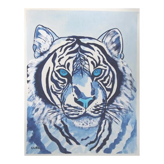 White Tiger Painting by Cleo Plowden For Sale