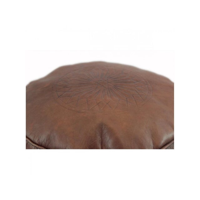 Brown Moroccan Leather Pouf - Image 5 of 6