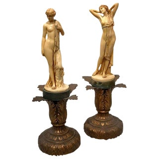 Pair of Art Deco Ivorine Nudes, Signed F. Preiss For Sale