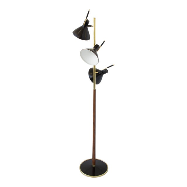 Three-Shade Floor Lamp by Gerald Thurston Lightolier For Sale