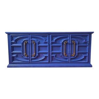 Bassett Gold Hardware on Blue Dresser For Sale