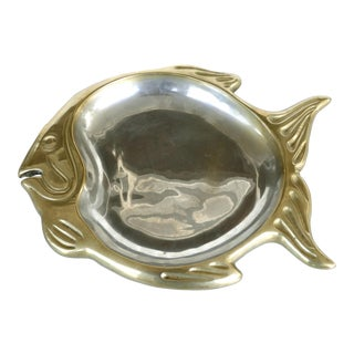 Vintage Mixed Metals Brass Fish Platter / Plate For Sale