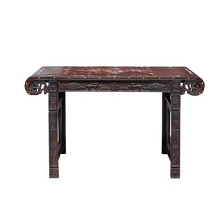 Chinese Brown Huali Rosewood Scroll Inlay Deer Fortune Motif Altar Table For Sale