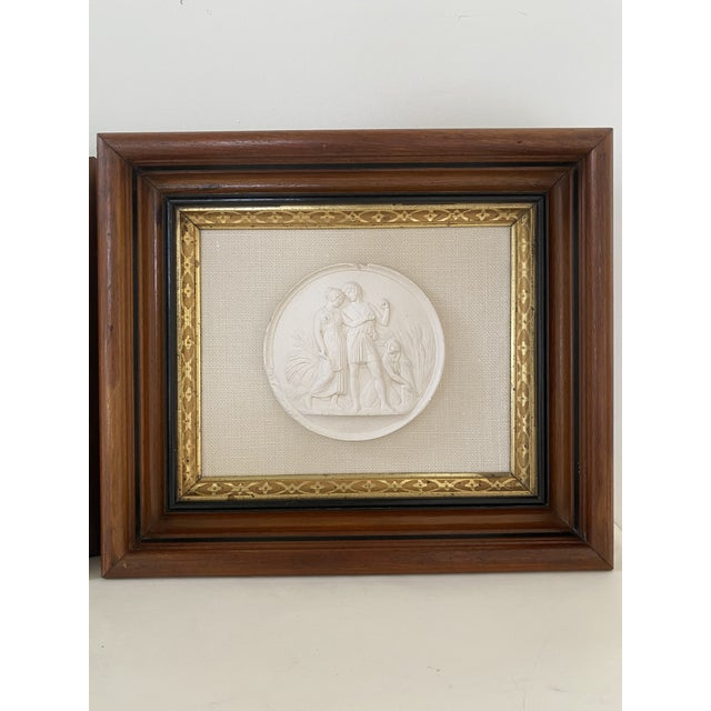 English Antique Plaster Intaglio Plaque Framed in Antique Walnut and Gilt Frames - a Pair For Sale - Image 3 of 13