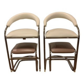 Vintage Mid Century Anton Lorenz for Thonet Barstools & Ottomans- a Pair For Sale