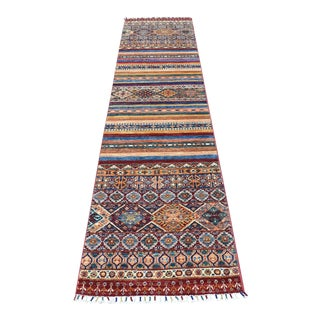 "Red Khorjin Design Runner Kazak Geometric Wool Hand Knotted - 2'2"" x 10'0"" For Sale"