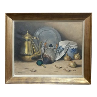 M. Moeng Still Life With Dead Game 19th Century Oil Painting For Sale
