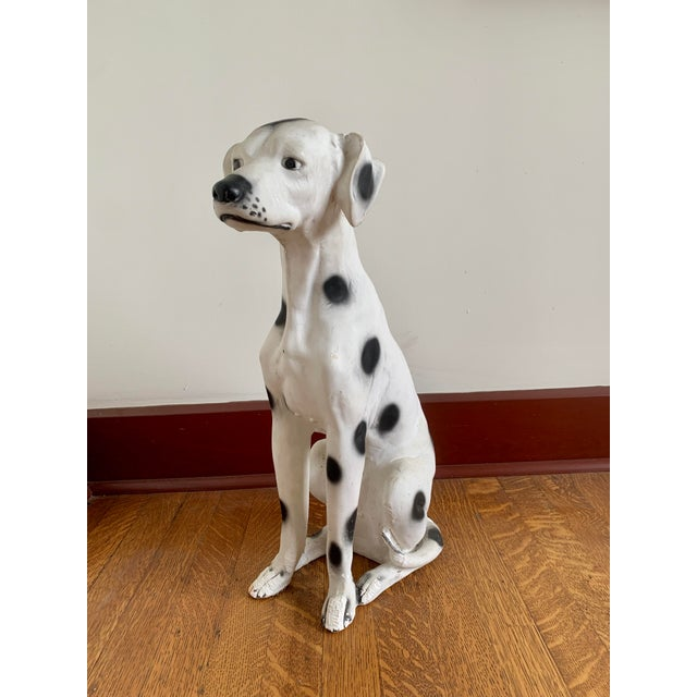 Mid-Century Modern Vintage Chalkware Life Size Dalmatian Statue For Sale - Image 3 of 13