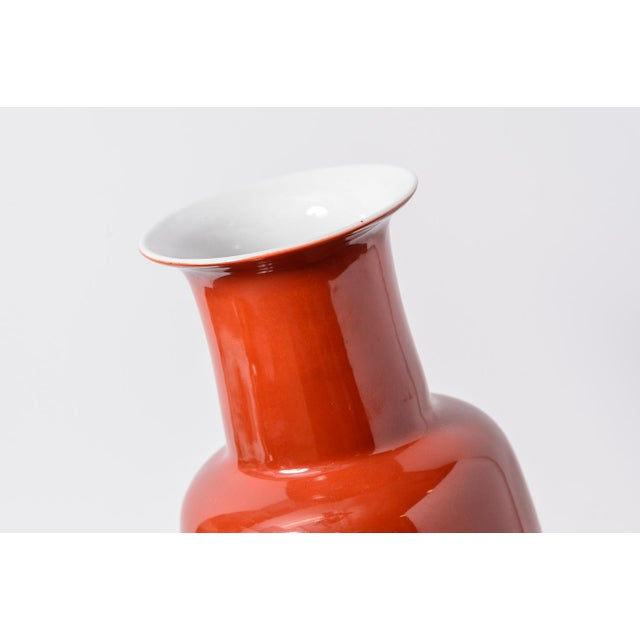 1960s Chinese Red Porcelain Vases - a Pair For Sale - Image 4 of 10