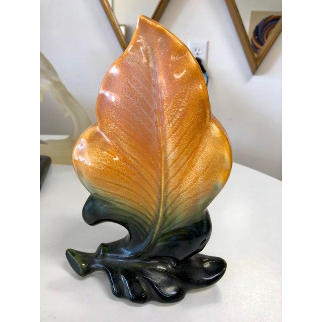 Vintage Floral Leaf Ceremic Vase For Sale In Charleston - Image 6 of 6