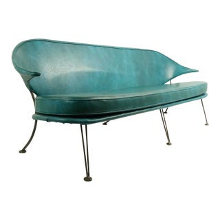 Mid Century Wrought Iron and Vinyl Sofa Settee Loveseat For Sale