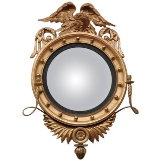Federal Carved and Gilt Girandole /Convex Mirror, America, circa 1810 For Sale