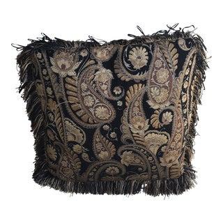 Antique Dark Brown, Tan & Black Textile Throw Pillow