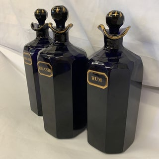 Bristol Blue Glass Decanters Ex Mallets Stock Preview