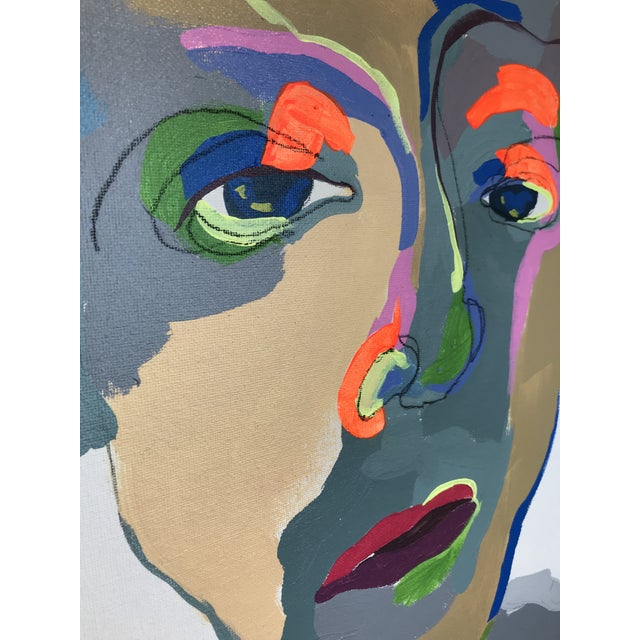 """Contemporary Abstract Portrait Painting """"What Are You Doing Tonight"""" - Framed For Sale In Detroit - Image 6 of 9"""
