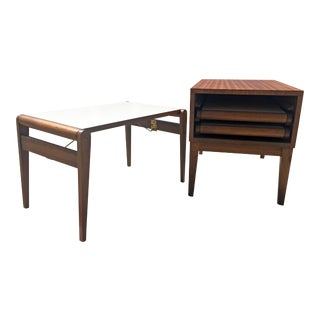 John Keal for Brown Saltman Side Table With 3 Tray Tables