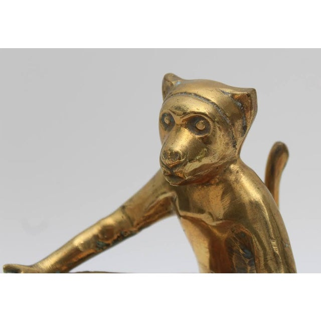 Mid-Century Brass Monkey Figurine Card Holder For Sale - Image 4 of 10