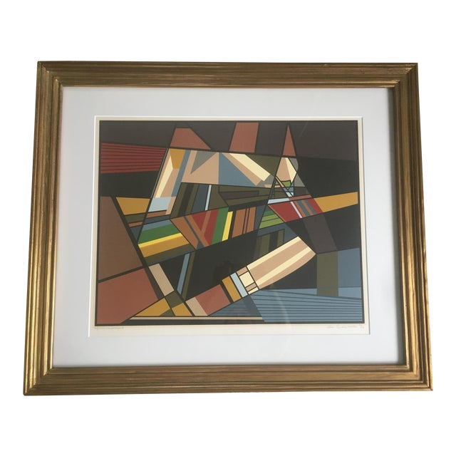 """Vintage Mid-Century Modern Abstract Geometric """"African Landscape I"""" Lithograph Print For Sale"""