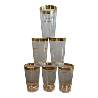 Vintage Mid 20th Century Glass Tumblers With Gold Rim - Set of 6 For Sale