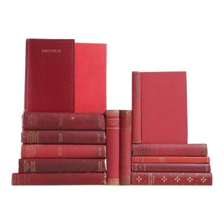 Red Distressed Poetry Classics - Set of 14 For Sale