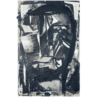 Abstract Ink, Paper Collage Head 2 From Sylvia Schuster For Sale
