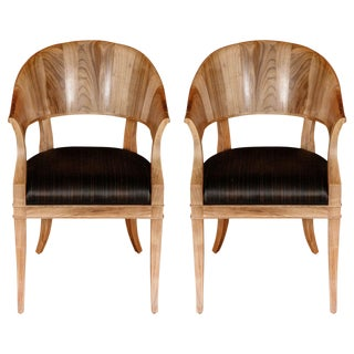 Customizable Bleached Walnut French Art Deco Style Chairs For Sale
