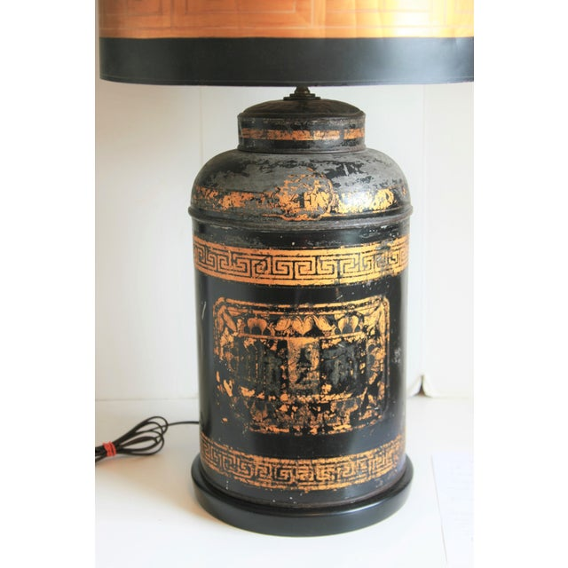 Late 19th Century Late 19th Century Antique Chinoiserie Metal Tea Canister Lamps - A Pair For Sale - Image 5 of 13
