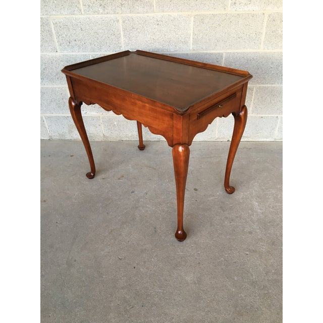 Brown Statton Old Towne Solid Cherry Queen Anne Tea Table For Sale - Image 8 of 8