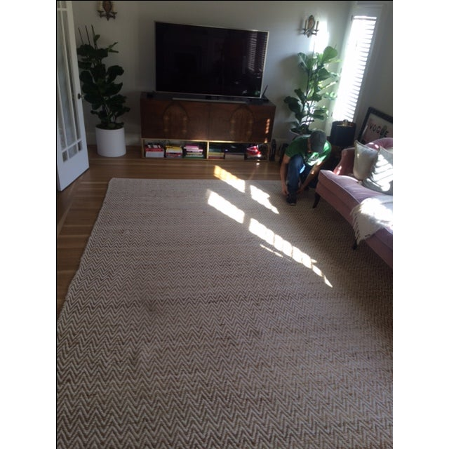Chevron Rug in Beige and White - 9′ × 12′ - Image 4 of 9
