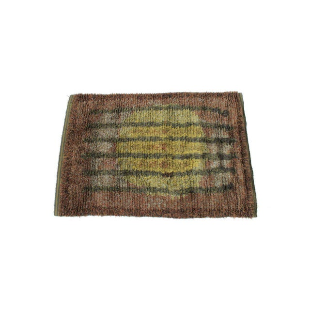 Finnish rya rug or wall hanging with high pile. Geometric design of six stripes and large circle. Bold and attractive hues...