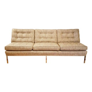 Vintage Chromed Steel Platform Base Sofa For Sale