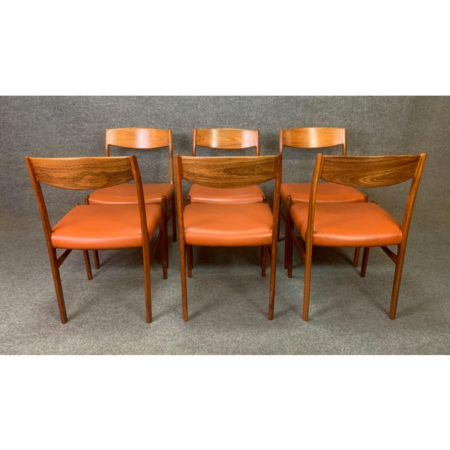 Set of Six Vintage Danish Mid Century Modern Rosewood and Leather Dining Chairs For Sale - Image 4 of 13