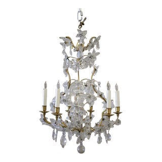 French Gilt Bronze & Crystal Chandelier For Sale