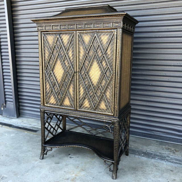 Chinoiserie Rattan Pagoda Style Tv Cabinet Armoire For Sale - Image 12 of 13