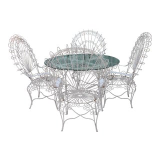 1940s Shabby Chic Peacock Patio Set - 5 Pieces For Sale