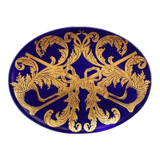 Mid 20th Century Mid-Century Piero Fornasetti Porcelain Cobalt Dish With Gilt Pipe and Tobacco Motif For Sale