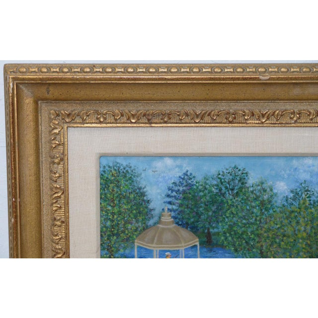 """Mid 20th Century Mollie Simon """"Bandstand in the Park"""" Vintage Folk Art Painting C.1960s For Sale - Image 5 of 8"""